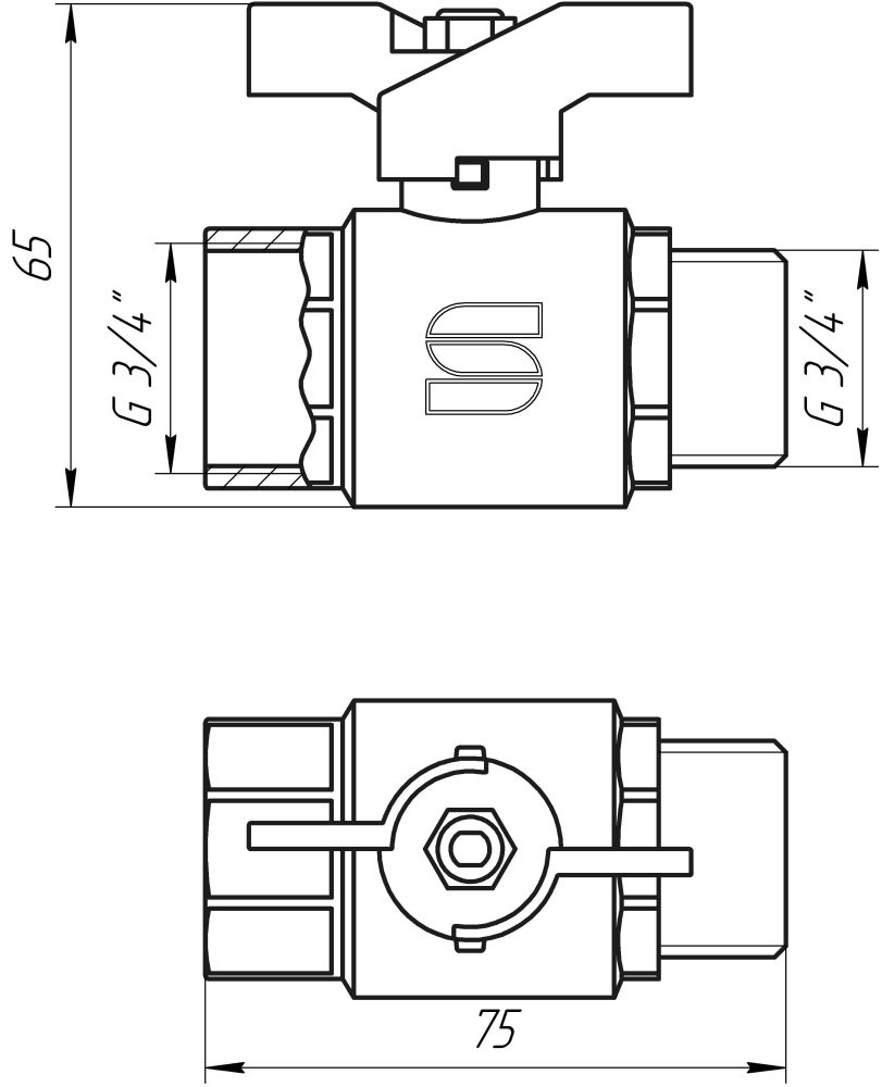 "Кран шаровый 3/4"" НВ КБ SL1508 SELBA GERMANY"