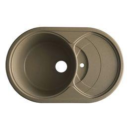 Мойка керамогранит GRAND круглая с полкой (КЕПКА) 78/50/300 коричневый камень