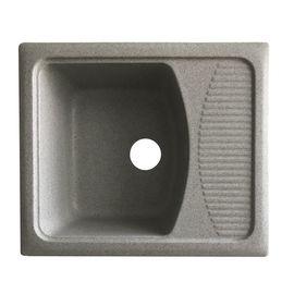 Мойка керамогранит GRAND прямоугольная с полкой 58/50/210 бело-серый камень