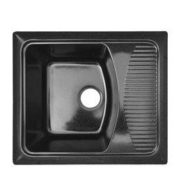 Мойка керамогранит GRAND прямоугольная с полкой 58/50/430 черный камень