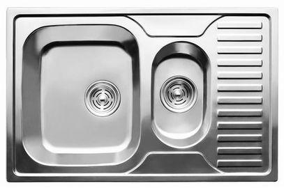 7301 Мойка CRISTAL прямоугольная двойная с полкой, врезная 780x500x180 Decor
